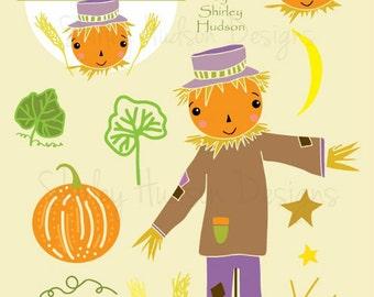Autumn Halloween clip art png files - 15 illustrations designs scarecrow pumpkin wheat field artwork