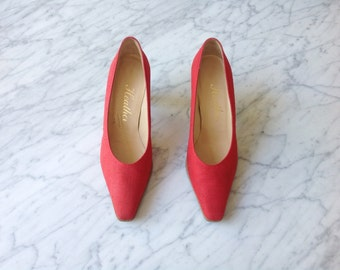Vintage Red Linen Pumps. Leather Soles, Made in Spain.