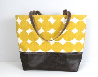 Large Tote, Canvas and Leather Bag, Polka Dot Purse, Yellow Bag, Knitting Tote, Carryon Bag, Travel Purse, Shopping Tote, Leather Bottom Bag