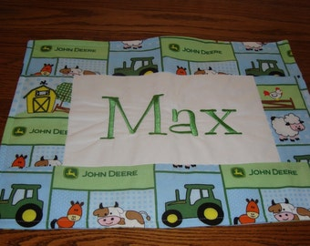 Personalized John Deere farm animals toddler placemat, custom made