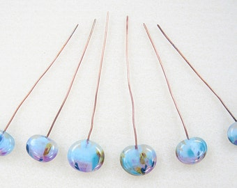 Six Handmade Glass Lampwork Headpins on Copper Wire Blue and Pink