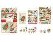 SALE -- Cavallini Christmas Birds Petite Parcel Set - Gift & Party Wrap - Paper Emphemera