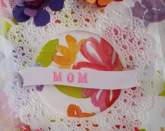Mothers Day card repurposed watercolor flowers with gems