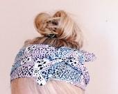 TwiceAround Headwrap - Headscarf - Pastel Patterned Headwrap - Headband - Knotted Headband Purple Blue