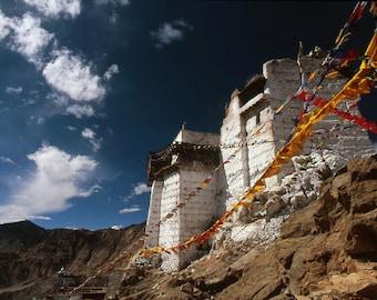 Namgyal Tsemo Gompa - 5x7 print in 8x10 mat, ladakh photography, buddhist wall art, buddhist gompa, india photography, himalaya, prayer flag