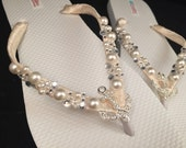 SALE So Sweet Bride Livia Nautical Anchor with Pearl & Gem Flip Flops