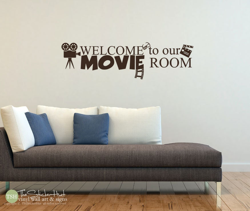 welcome to our movie room vinyl lettering movie room decor