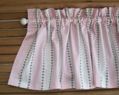 """Pink, White, and Grey Dots Striped Valance - 50"""" x 16"""" - Ready to Ship!"""