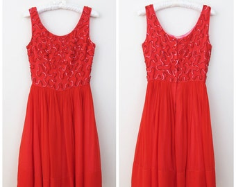 50s Red Sequin Crepe Chiffon Party Dress, Size XS