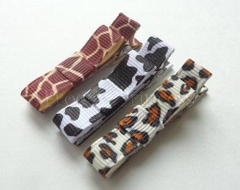 Animal Print Clippie Set - Leopard Giraffe Cow Tuxedo Bow No Slip Hair Clips