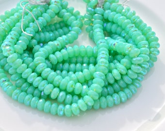 Tropical Green AB 6x4mm Faceted Rondelle Beads  50