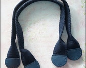 1 pairs of Navy Blue Leather On Cotton Webbing Handbag Handle Bag Supply