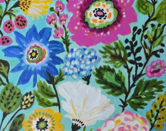 Bohemian Flowers Painting Large Nursery Art by Karen Fields