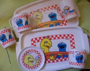 sesame street plastic toy dishes
