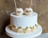 Wedding cake topper...mr mrs white pumpkins cake toppers and fabric LOVE banner included // beach hippie woodland barefoot forest party