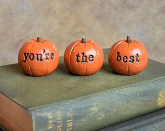 You're the best pumpkins / you are loved / gift for her mom friend sister brother / 3 clay pumpkins decor