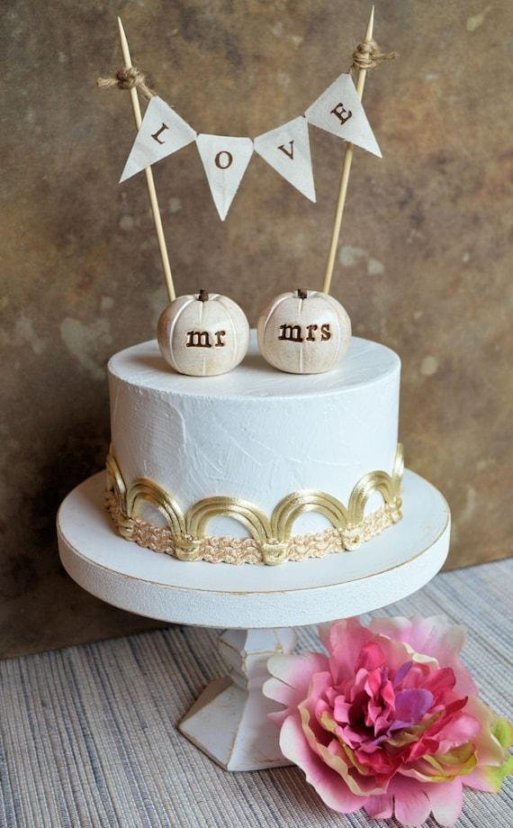 Etsy Wedding Cake Decorations : Items similar to Wedding cake topper...mr mrs white ...