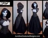 Jack Pumpkin Halloween Nightmare Hoodie Shrug, Top, Corset, Tails, Skirt and Tie Full Costume by LoriAnn Costume Designs