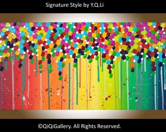 """Colorful Abstract painting modern abstract canvas painting wall decor wall art canvas art gift for her """"Flower Shower"""" by qiqigallery"""