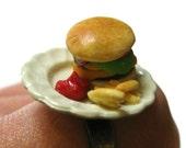 SALE Hamburger and Fries Ring READY To SHIP