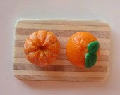 Tangerine/Clementine Stud Earrings, Healthy Fruit collection- Realistic Miniature Food, Polymer Clay
