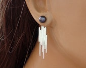 Sterling silver earring jacket, abstract design
