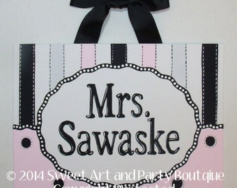 Teacher, name sign, canvas name sign, Classroom sign, door sign, classroom decor, teacher monogram, Pink, Black, Teacher gift, Classroom art
