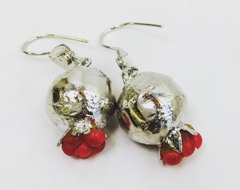 Pomegranate Earrings Silver Plated with Precious Stones