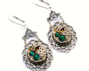 Steampunk Earrings Emerald Green May Birthstone Swarovski Vintage Watch Movement Steam Punk Steampunk Jewelry designed by London Particulars