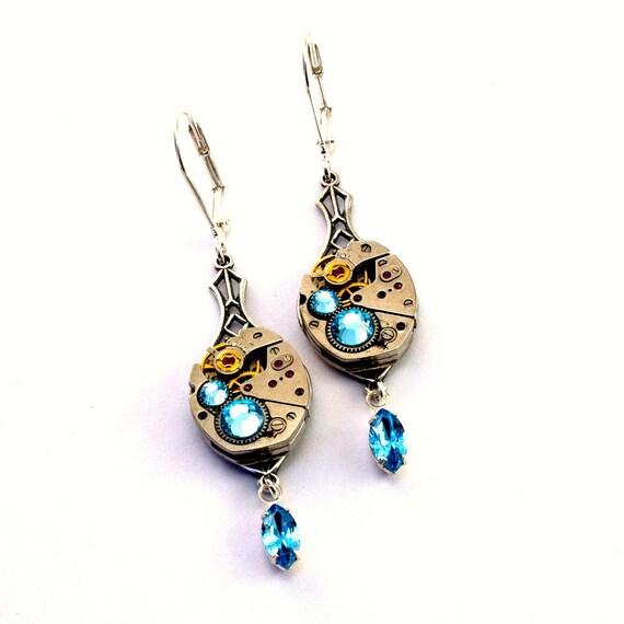 Aqua Marine Blue Steampunk Earrings Swarovski Crystals Steam Punk Steampunk Jewelry designed by London Particulars