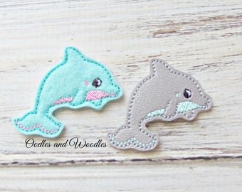 Dolphin Felt Appliques, Gray And Aqua Dolphin Appliques, Felt Embroidered Dolphin Appliques, Beach Appliques, Beach Appliques, Felt Dolphins