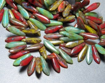 Czech Picasso Mix Dagger Glass Beads 15x5mm (50) 1138