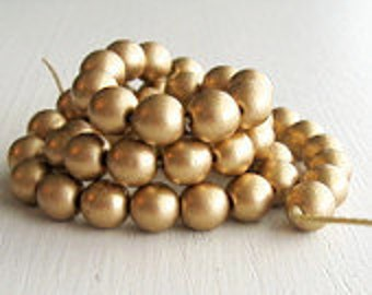 50 Matte Gold 6mm Rounds - Czech Glass Beads