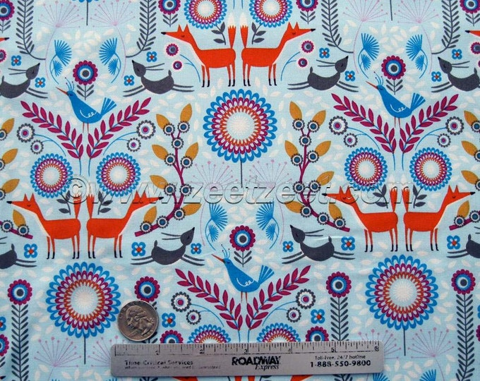 """OOP Nordic Wooodland BLUE Cotton Quilt Fabric - Last Piece 1-yard and 20"""" long by 45"""" Wide - Forest Frolic Woods Flowers Scandi Fox"""