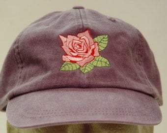 PINK ROSE June Flower of Month Hat - Embroidered Women Garden Cap - 24 Colors Available - Price Apparel Embroidery