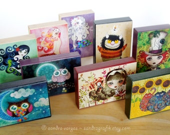 Your Choice Collectible ACEO Wood Blocks, ATC Art Print Mounted on Wood, Mini Wall Art, Pick your favorite Artwork