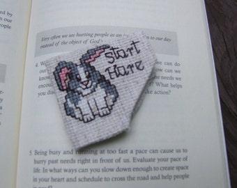 Cross Stitch Corner Bookmark - Rabbit