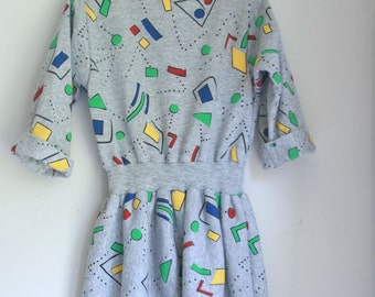 Vintage 80s dress geometric teen petite small