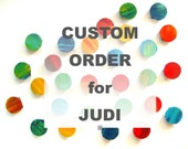 CUSTOM ORDER for JUDI - Original Painting Abstract Circles Wall Sculpture - Mixed Media Circles Wood Blocks Wall Art - by Rosemary Pierce