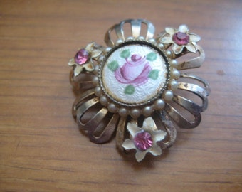 50s Guilloche Rose Enamel Filigree Pin with Enamel Flowers and Rhinestone Centers