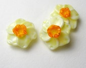 NARCISSUS, Daffodil, Jonquil, lampwork glass beads, lampwork flower bead, flower beads, daffodil bead, glass daffodil, daffodil bead