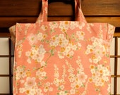 Sakura Tote Bag, Japanese Cherry Blossom Branches in Pink TIGHT 'N' TIDY Tote Bag, Reusable Folding Shopping Bag, Pink White Green, Compact