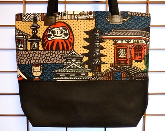 Japanese Canvas Tote Bag with Japanese Castle, Pagoda, Tokyo Kaminarimon and Daruma Doll, Red Black Beige Blue, Traditional Japanese Art