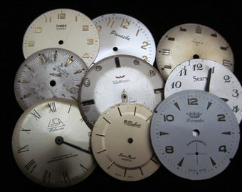 Vintage Antique Watch Dials Steampunk  Faces Parts Altered Art Industrial  L 41