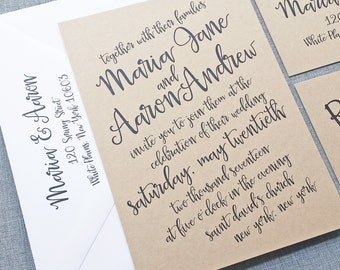 Maria Black Script Kraft Wedding Invitation Sample - Hand Lettering Calligraphy Rustic Wedding Invitation