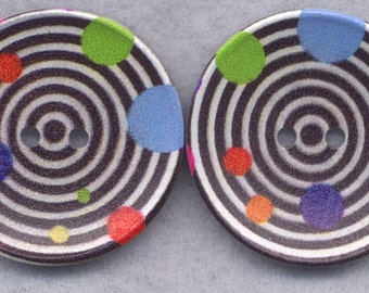 Retro Rings Wood Buttons Wooden Buttons Circles 40mm (1 5/8 inch) Set of 2/BT305