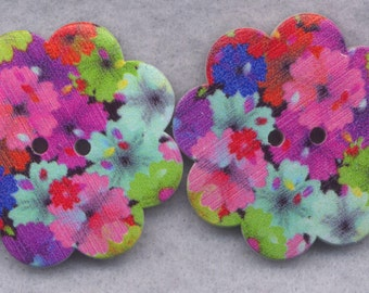 Floral Fantasy Wood Buttons Wooden Buttons Petunias 36mm (1 1/2 inch) Set of 2/BT304