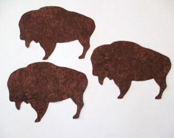 3 Buffalo Iron On Appliques Pick Size