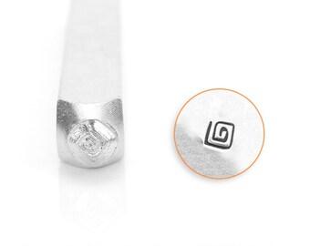 Square Swirl Design Stamp, SC1510-P-6MM, Symbol and Shape Design Stamp, Metal Stamp, 3mm, Carbon Steel Design Stamp, ImpressArt