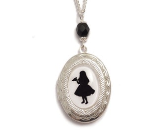 Alice in Wonderland necklace DRINK ME cameo locket silhouette Victorian necklace